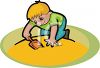 Little Boy Playing in a Sandbox clipart