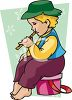Little Kid Playing a Flute clipart