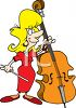 Woman Playing the Upright Bass clipart
