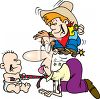 Cartoon of a Dad Playing with His Kids clipart