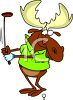 Cartoon of a Moose Playing Golf clipart