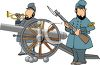 Civil War Soldier Standing by a Cannon clipart