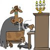 Cow Musician Playing a Piano clipart