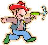 Boy Playing with a Water Pistol clipart