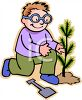 Boy Planting a New Tree Sapling clipart