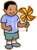 Ethnic Kid Playing with a Pinwheel clipart