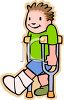 Boy with a Broken Leg in a Cast clipart