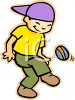 Ethnic Boy Kicking a Hacky Sack clipart