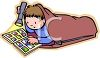 Boy Reading A a Comic Book by Flashlight clipart