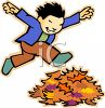 Happy Boy Running Through Leaves clipart