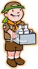Boy Scout Collecting Empty Bottles to Recycle clipart