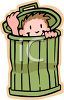Little Boy in a Garbage Can Playing Hide and Seek clipart