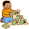 Ethnic Boy Building a House of Cards clipart