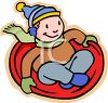 Boy Riding a Toboggan clipart