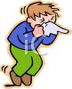 Sick Boy Blowing His Nose clipart