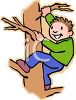 Active Boy Climbing a Tree clipart