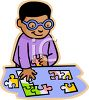 African American Boy Putting Together a Jigsaw Puzzle clipart