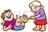 Girl Tickling Her Brother with a Feather clipart