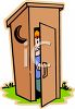 Boy Peeking Out From an Outhouse clipart