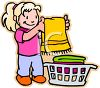 Little Girl Folding Clean Towels clipart