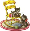 Vintage Kittens Playing in a Yarn Basket clipart