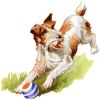 Vintage Terrier Pup Playing with a Ball clipart