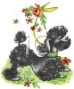 Vintage Poodle Playing in the Grass clipart