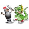 Boys Acting in a Play About a Dragon and a Knight clipart