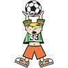 Cartoon of a Boy Holding a Soccer Ball Above His Head clipart