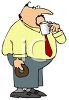 Fat Man Taking a Coffee Break clipart