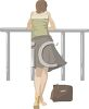 Woman Leaning on a Railing clipart