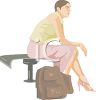 Woman Waiting with a Travel Bag clipart