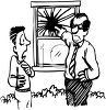 Black and White Cartoon of a Boy Getting in Trouble for Breaking a Window clipart