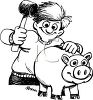 Black and White Cartoon of a Boy Breaking Into His Piggy Bank clipart