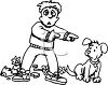 Black and White Cartoon of a Boy Blaming His Dog for a Broken Vase clipart