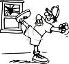 Black and White Cartoon of a Boy Breaking a Window clipart