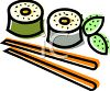 Sushi Rolls and Chopsticks clipart