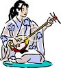 Japanese Woman Playing a Shamesin clipart