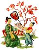 Japanese Scene of a Boy Fanning a Seated Woman  clipart
