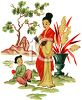 Japanese Scene of a Woman and Her Daughter clipart