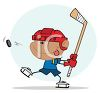 Cartoon of a Boy Playing Hockey clipart