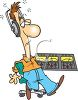 Cartoon of an Exhausted Radio DJ clipart