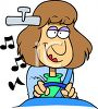 Cartoon of a Woman Driving Her Car with the Stereo On clipart