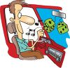 Cartoon of a Man Driving with the Radio On clipart