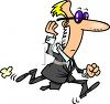 Cartoon of a Secret Service Agent Running clipart