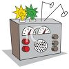 Cartoon of a Short Wave Radio clipart
