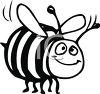 Cartoon Honeybee in Black and White clipart