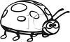 Cartoon Ladybug in Black and White clipart