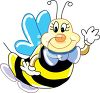 Cartoon Bee Wearing Gloves clipart