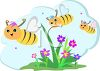 Honeybees Flying Around Blossoms clipart
